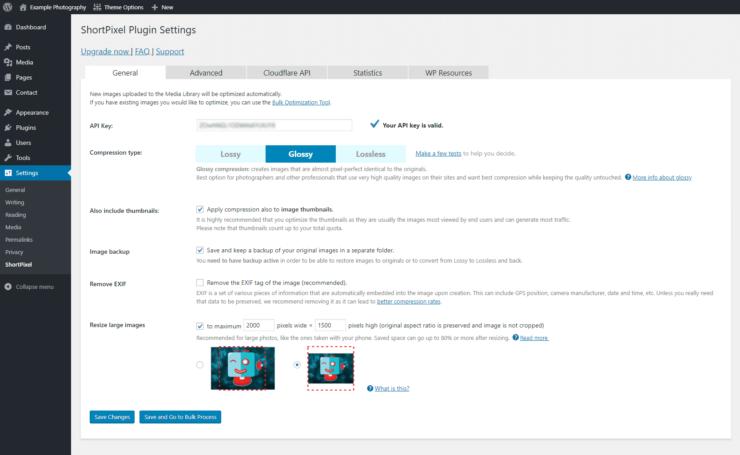 Shortpixel WordPress plugin settings