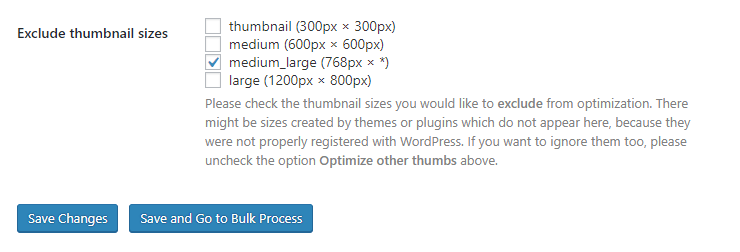 Shortpixel plugin settings: exclude thumbnail sizes