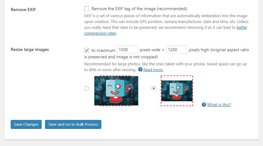 Shortpixel plugin settings - resize larger images