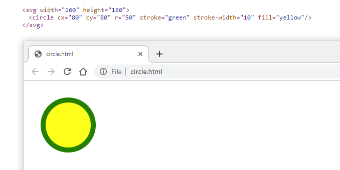 SVG image code example and preview in browser