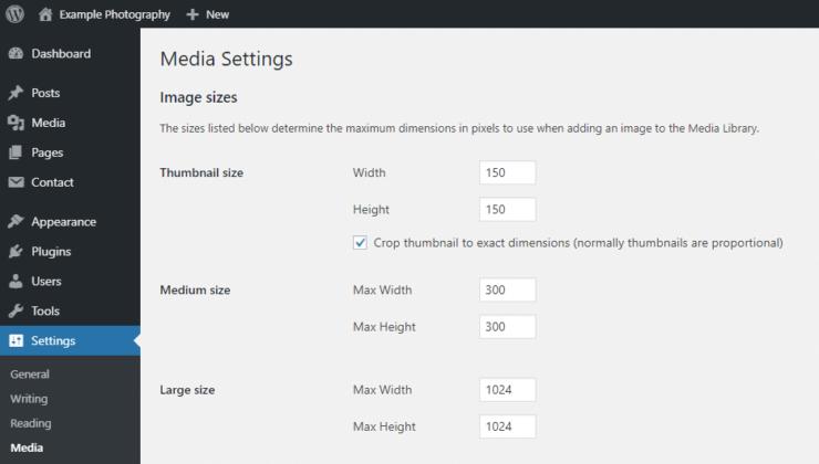 WordPress Media Settings - default image sizes