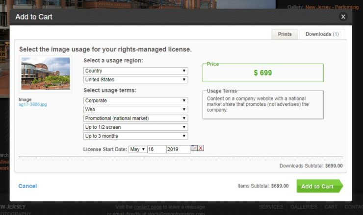PhotoShelter Rights-Managed license calculator example