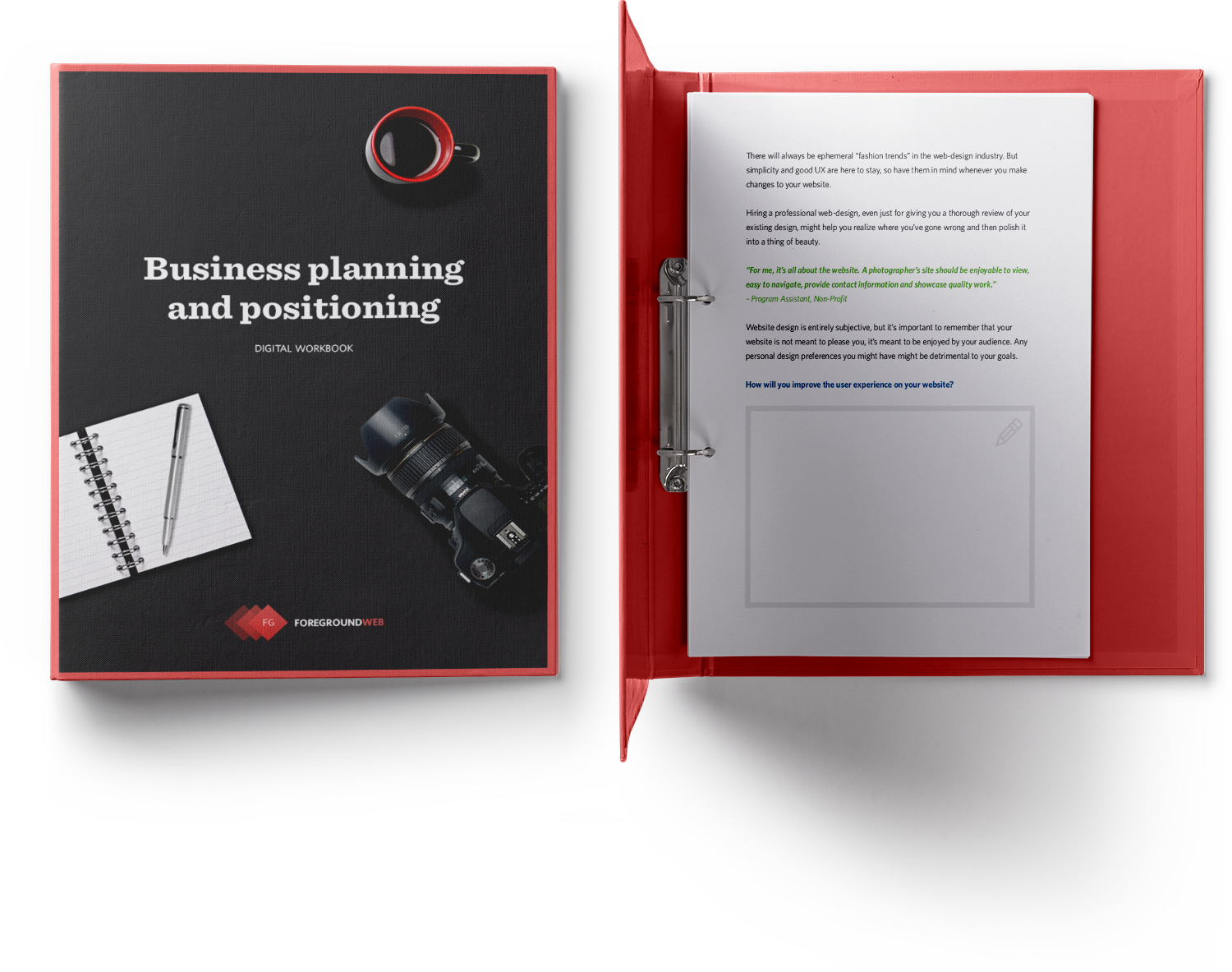 Business planning and positioning for photographers - Guide preview in a binder