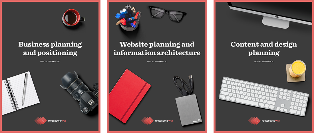 Preview of the 3 business and website planning guides by Alex Vita from ForegroundWeb