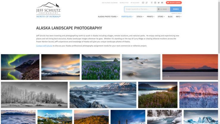Jeff Schultz Photography - Alaska Landscapes portfolio screenshot